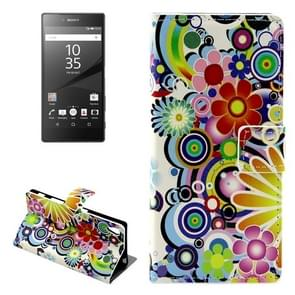 Colorful Flower Pattern Leather Case with Holder & Card Slots & Wallet for Sony Xperia Z5