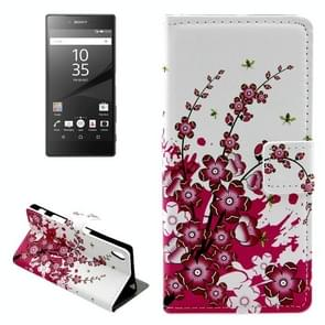 Cherry Blossom Pattern Leather Case with Holder & Card Slots & Wallet for Sony Xperia Z5