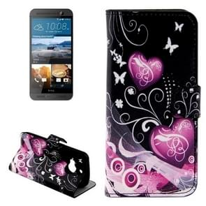For HTC One M9+ Heart Pattern Leather Case with Holder & Card Slots & Wallet
