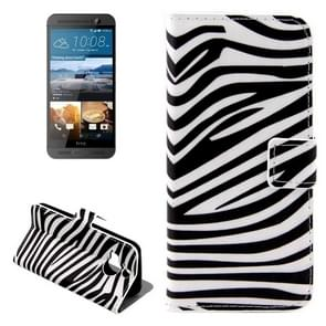 For HTC One M9+ Zebra Stripe Pattern Leather Case with Holder & Card Slots & Wallet