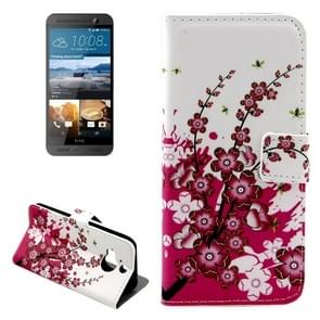 For HTC One M9+ Cherry Blossom Pattern Leather Case with Holder & Card Slots & Wallet