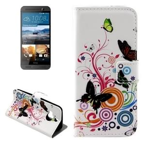 For HTC One M9+ Butterfly Pattern Leather Case with Holder & Card Slots & Wallet