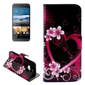For HTC One M9+ Flower and Heart Pattern Leather Case with Holder & Card Slots & Wallet