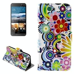 For HTC One M9+ Colorful Flower Pattern Leather Case with Holder & Card Slots & Wallet