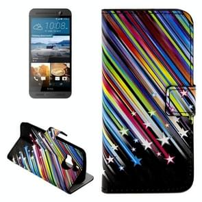 For HTC One M9+ Shooting Stars Pattern Leather Case with Holder & Card Slots & Wallet
