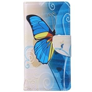Blue Butterfly Pattern Horizontal Flip Leather Case with Holder & Card Slots & Wallet for Alcatel OneTouch Pixi 3 5.0