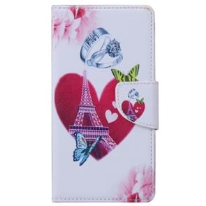 Romantic Heart and Diamond Ring Pattern Horizontal Flip Leather Case with Holder & Card Slots & Wallet for Alcatel OneTouch Pixi 3 5.0
