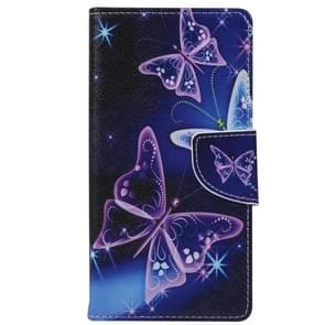 Purple Crystal Butterflies Pattern Horizontal Flip Leather Case with Holder & Card Slots & Wallet for Alcatel OneTouch Pixi 3 5.0