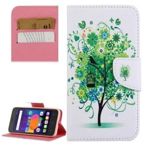 Flower Tree Pattern Horizontal Flip Leather Case with Holder & Card Slots & Wallet for Alcatel OneTouch Pixi 3 5.0