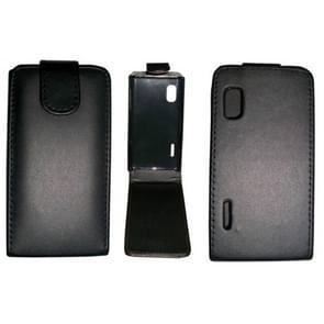 Vertical Flip Magnetic Snap Leather Case for LG Optimus L5 / E610(Black)