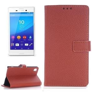 Litchi Texture Horizontal Flip Leather Case with Holder & Card Slots & Wallet & Side Chains for Sony Xperia M4 Aqua(Brown)