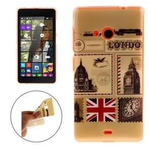 Envelope of London Pattern Soft TPU IMD Protective Case for Microsoft Lumia 535