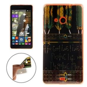 Words and Feathers Pattern Soft TPU IMD Protective Case for Microsoft Lumia 535