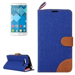 Denim Texture Leather Case with Card Slots & Holder & Lanyard for Alcatel One Touch Pop C9(Dark Blue)