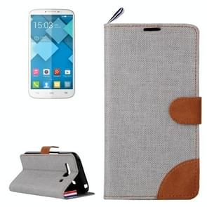 Denim Texture Leather Case with Card Slots & Holder & Lanyard for Alcatel One Touch Pop C9(Grey)
