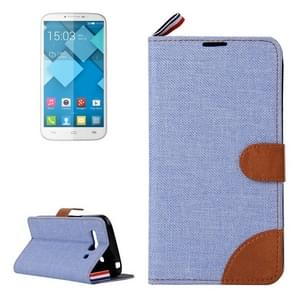 Denim Texture Leather Case with Card Slots & Holder & Lanyard for Alcatel One Touch Pop C9(Blue)