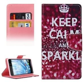 KEEP CALM and SPARKLE Words Pattern Horizontal Flip Leather Case with Holder & Card Slots & Wallet for Wiko Fever
