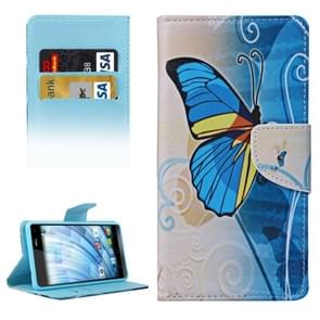 Blue Butterfly Pattern Horizontal Flip Leather Case with Holder & Card Slots & Wallet for Wiko Fever