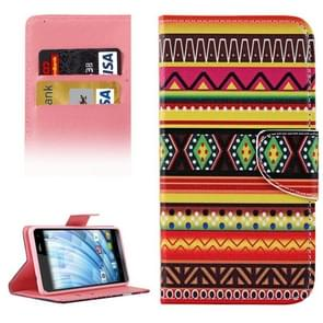 National Style Stripes Pattern Horizontal Flip Leather Case with Holder & Card Slots & Wallet for Wiko Fever