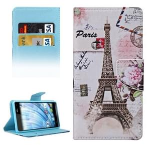 Eiffel Tower Pattern Horizontal Flip Leather Case with Holder & Card Slots & Wallet for Wiko Fever