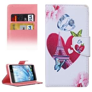 Romantic Heart and Diamond Ring Pattern Horizontal Flip Leather Case with Holder & Card Slots & Wallet for Wiko Fever