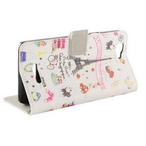 Eiffel Tower Giff Pattern Horizontal Flip Magnetic Buckle Leather Case with Holder & Card Slots & Wallet for Wiko Rainbow