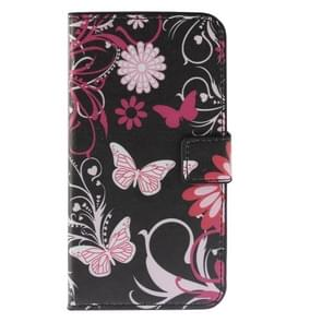 Butterfly Loves Flower Pattern Horizontal Flip Magnetic Buckle Leather Case with Holder & Card Slots & Wallet for Wiko Lenny