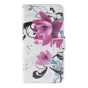 Purple Flowers Pattern Horizontal Flip Magnetic Buckle Leather Case with Holder & Card Slots & Wallet for Wiko Lenny
