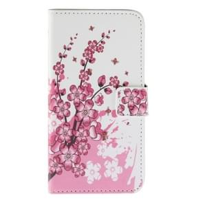 Cherry Blossom Pattern Horizontal Flip Magnetic Buckle Leather Case with Holder & Card Slots & Wallet for Wiko Lenny