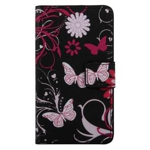 Butterfly and Flower Pattern Horizontal Flip PC + PU Leather Case with Holder & Card Slots & Wallet for Wiko Lenny 2