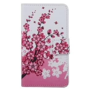 Cherry Blossom Pattern Horizontal Flip PC + PU Leather Case with Holder & Card Slots & Wallet for Wiko Lenny 2