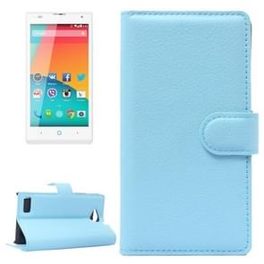 Horizontal Flip Solid color Leather Case with  Card Slots & Holder & Wallet for ZTE Blade G LUX(Blue)