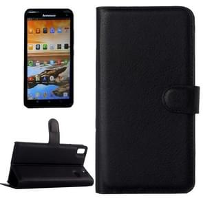 Horizontal Flip Solid color Leather Case with  Card Slots & Holder & Wallet for Lenovo A7600(Black)