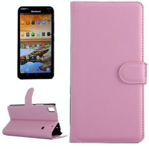 Horizontal Flip Solid color Leather Case with  Card Slots & Holder & Wallet for Lenovo A7600(Pink)