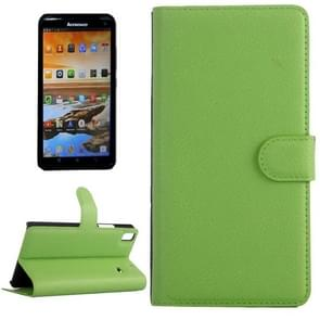 Horizontal Flip Solid color Leather Case with  Card Slots & Holder & Wallet for Lenovo A7600(Green)