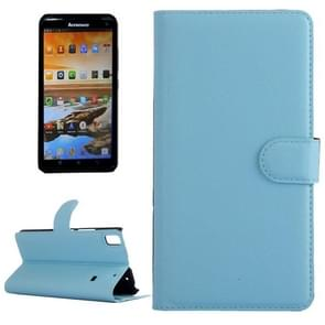 Horizontal Flip Solid color Leather Case with  Card Slots & Holder & Wallet for Lenovo A7600(Blue)