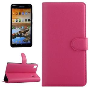 Horizontal Flip Solid color Leather Case with  Card Slots & Holder & Wallet for Lenovo A7600(Magenta)