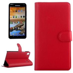 Horizontal Flip Solid color Leather Case with  Card Slots & Holder & Wallet for Lenovo A7600(Red)
