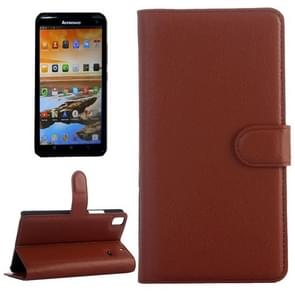 Horizontal Flip Solid color Leather Case with  Card Slots & Holder & Wallet for Lenovo A7600(Brown)