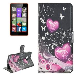Heart Pattern Horizontal Flip Leather Case with Holder & Card Slots & Wallet for Microsoft Lumia 540