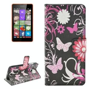 Butterfly Pattern Horizontal Flip Leather Case with Holder & Card Slots & Wallet for Microsoft Lumia 540