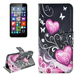 Heart Pattern Horizontal Flip Leather Case with Holder & Card Slots & Wallet for Microsoft Lumia 640