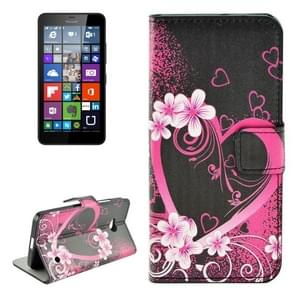 Flower and Heart Pattern Horizontal Flip Leather Case with Holder & Card Slots & Wallet for Microsoft Lumia 640