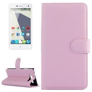 Horizontal Flip Solid color Leather Case with  Card Slots & Holder & Wallet for ZTE Blade L3(Pink)