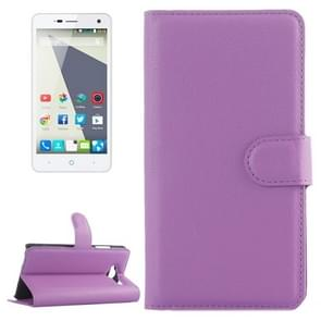 Horizontal Flip Solid color Leather Case with  Card Slots & Holder & Wallet for ZTE Blade L3(Purple)