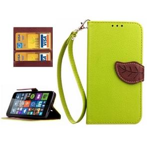 Leaf Magnetic Snap Litchi Texture Horizontal Flip Leather Case with Card Slots & Wallet & Holder & Lanyard for Microsoft Lumia 640(Green)