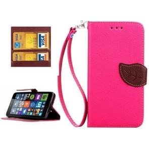 Leaf Magnetic Snap Litchi Texture Horizontal Flip Leather Case with Card Slots & Wallet & Holder & Lanyard for Microsoft Lumia 640(Magenta)