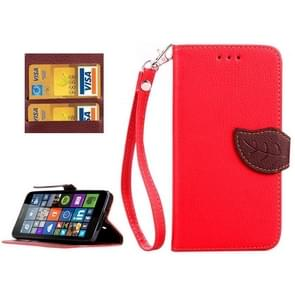 Leaf Magnetic Snap Litchi Texture Horizontal Flip Leather Case with Card Slots & Wallet & Holder & Lanyard for Microsoft Lumia 640(Red)