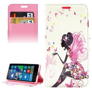 Butterfly Fairy Pattern Diamond Encrusted Horizontal Flip Leather Case with Holder & Card Slots & Wallet for Microsoft Lumia 650