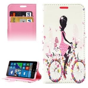 Biking Girl Pattern Diamond Encrusted Horizontal Flip Leather Case with Holder & Card Slots & Wallet for Microsoft Lumia 650